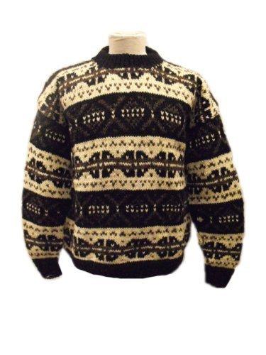 Handgestrickte wohlig warm Schwarz-Weiß- Stil Nordic Chunky Knit Sweater - Fair Trade - 100 % Wolle