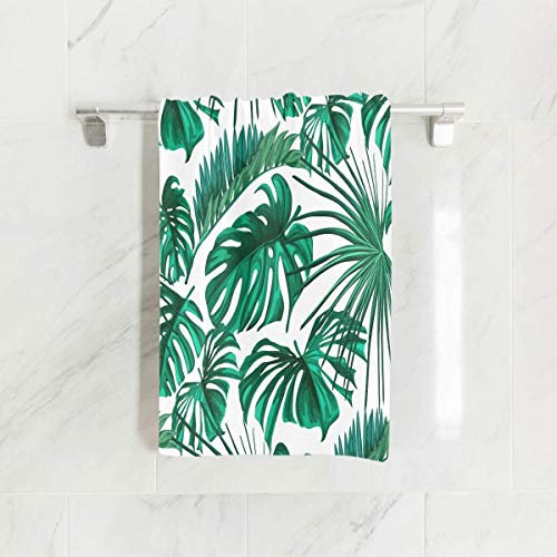 (SUABO Monstera Palm Tree Leaf Hand Towel Dish Towels Cotton Face Towel 30x15 inch Gym Yoga Towels for Bath Decor)