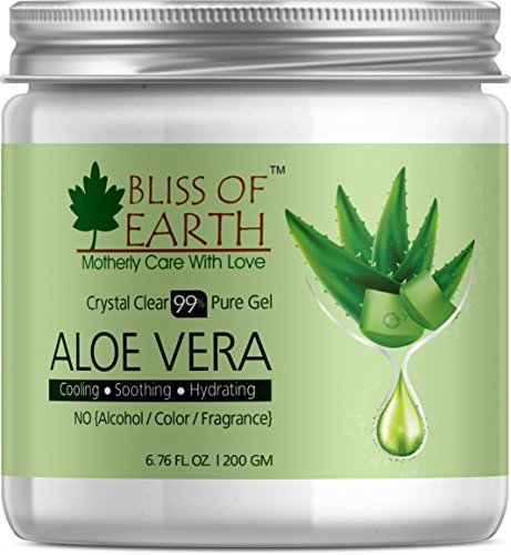 Bliss of earth 95% Pure Crystal Clear Aloe Vera Gel | 200GM | Great For Face, Body & Hair | Effective Cooling, Soothing & Hydrating | Paraben Free |