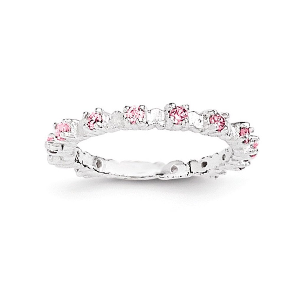 West Coast Jewelry Sterling Silver Pink and White CZ Kids Ring