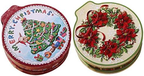 Toddmomy 2 Stks Kerst Koektrommels Bonbondoos Ronde Lege Koektrommels Xmas Metalen Geschenkdoos Voor Vakantie Party Cookies Snoep Voedsel Thee