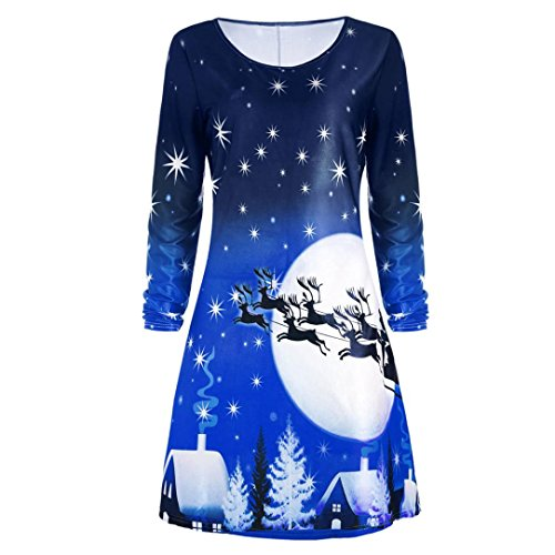 Women Long Sleeve Evening Party Christmas Pin Up Dress Knee Length Tunic Swing Dress (Blue, L) (Christmas For Gifts Girlfriend 2017)