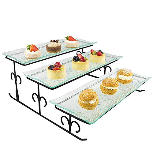 3 Tier Server - Black Tiered Serving Platter Stand & Trays - Perfect for Cake, Dessert, Shrimp, Appetizers & More