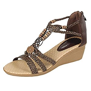 Forever Link Women's Woven Beaded Floral Wedge