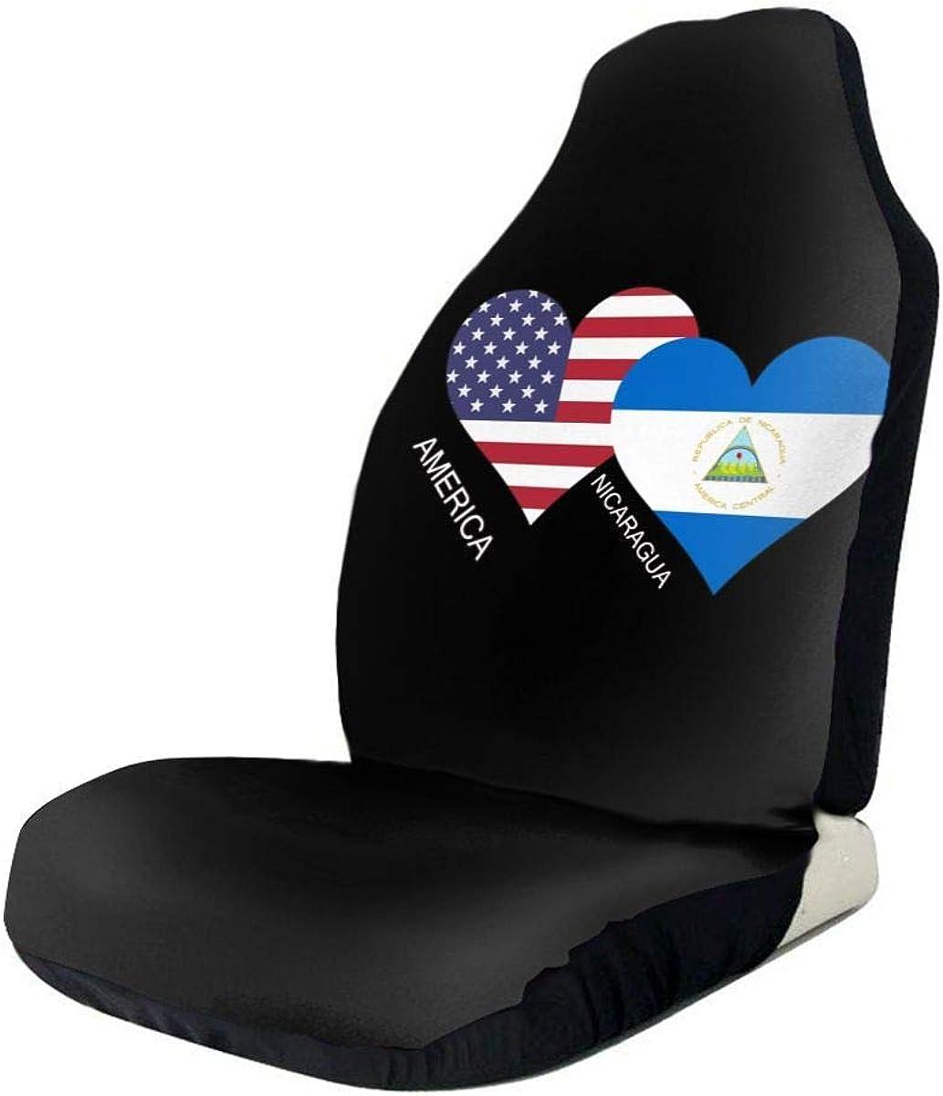 Fall Ing Las fundas de los asientos de coche con el corazón de la bandera de Nicaragua en América se ajustan a la mayoría de los automóviles