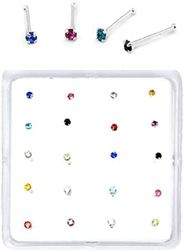 925 sterling silver 1.5 mm nose studs with mixed colours PRECIOSA Crystals