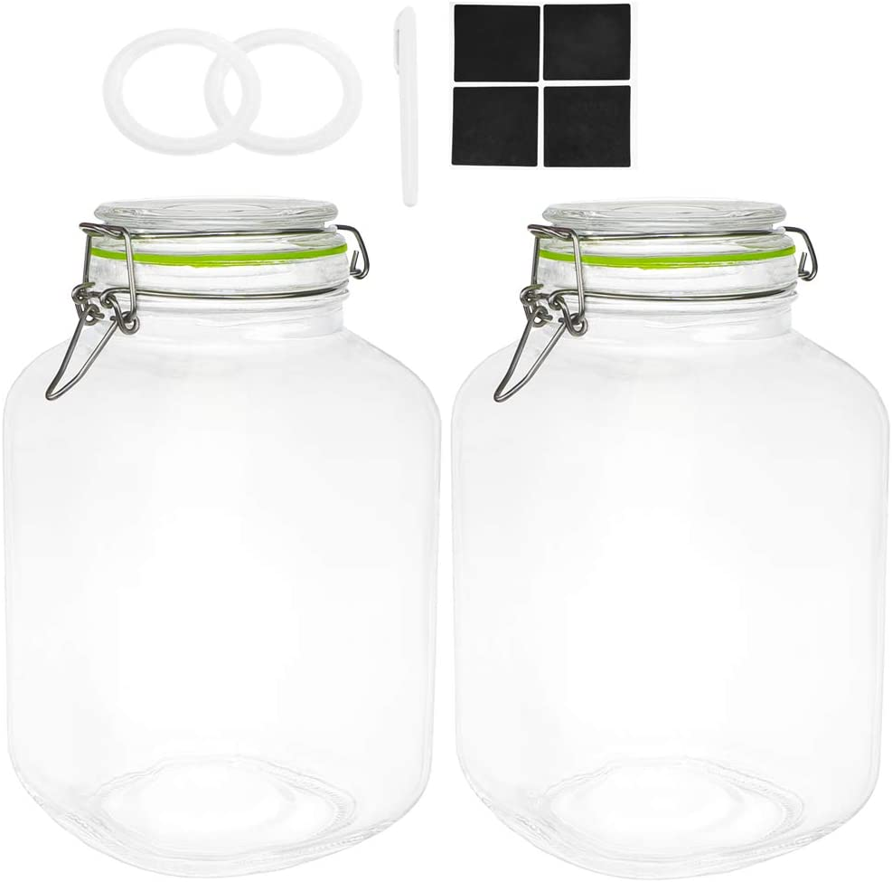 Qianfenie 1.1 Gallon Glass Jars with Airtight Lids, Mason Jars with Clip Top Lids for Kitchen Containers - Square Glass Jars with Labels & Chalkboard Pen and Replacement Silicone Gaskets, Set of 2