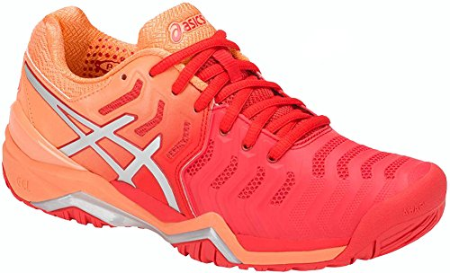 ASICS Womens Gel-Resolution 7 Tennis Shoe, Red Alert/Silver, Size 7.5