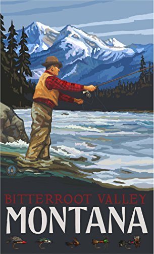 Northwest Art Mall PAL-6449 FFSH Bitterroot Valley Montana Fly Fisherman Stream Mountains 11x17 Print by Artist Paul A. - Stream Mall Valley