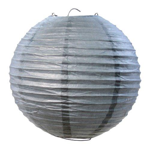 Koyal Wholesale Paper Lantern, 14-Inch, Gray, Set of 12