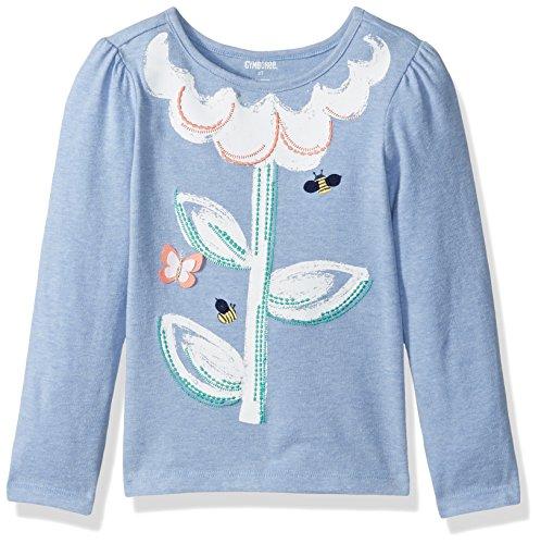 Gymboree Baby Toddler Girls' Flower Lt Graphic Tee, Faberge Blue, 18-24 Months