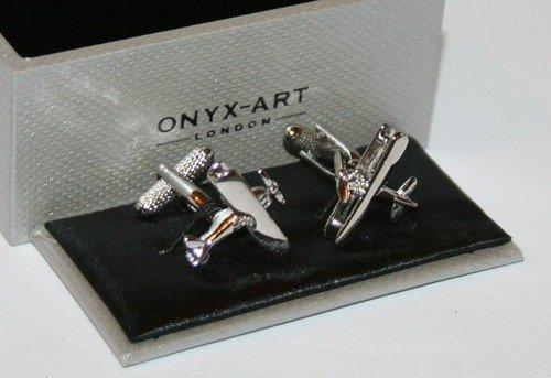Onyx Art Men's Novelty Cufflinks - Tiger Moth Bi-Plane Design