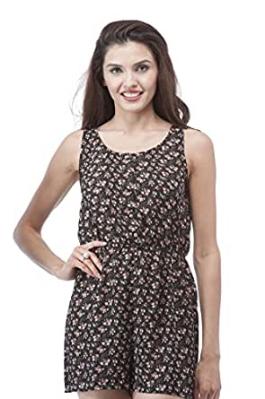 Floral Print button up elastic waist romper shorts (Large, Black/Pink)