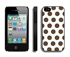 Coolest Apple Iphone 4s Black Case Durable Soft Silicone TPU Beautiful Polka Dot White and Dark Brown Speck Cell Phone Cover for Iphone 4
