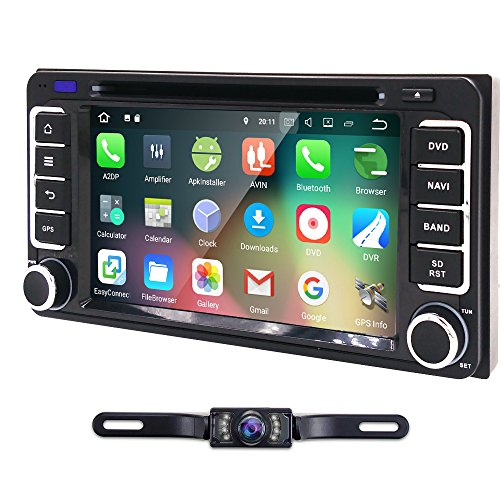 Double 2 Din Android 8.1 Car DVD Player for Toyota Corolla Camry RAV4 Tundra Hilux VIOS VITZ 4RUNNER Prado Sequoia Quad Core WiFi Bluetooth Radio GPS Navigation Backup Camera