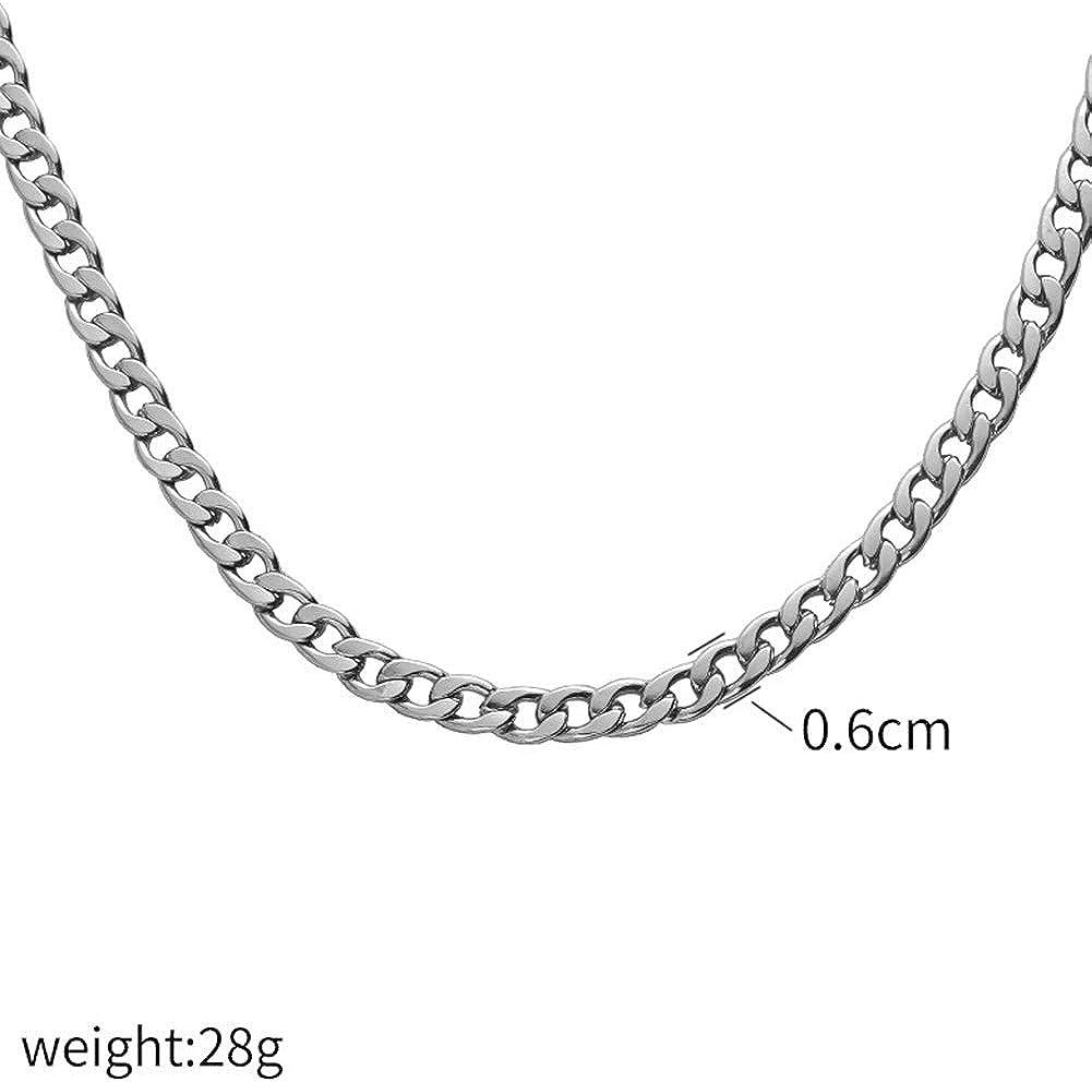 NG Collar para Hombre Collar Plateado de Acero Inoxidable de Titanio de 18 Quilates Collar Hip Hop de 6 mm de Ancho Collar Cubano
