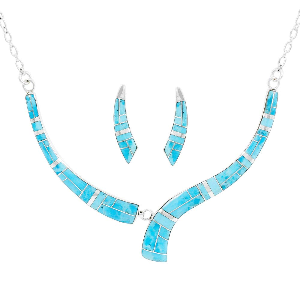 Turquoise Necklace & Earrings Set Sterling Silver 925 Genuine Gemstones Adjustable Length