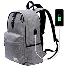 Laptop Backpack,Beyle Anti-theft Water Resistant Travel laptop backpack with USB Charging Port School Bookbag for College Travel Backpack designed for 17-Inchand Notebook,Grey