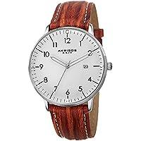 Akribos XXIV Men's AK715BR Retro Swiss Quartz White Dial Stainless Steel Brown Leather Strap Watch