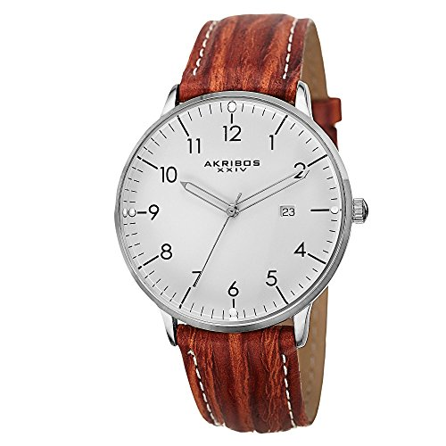 Akribos XXIV Men's AK715BR Retro Swiss Quartz White Dial Stainless Steel Brown Leather Strap Watch (Polished Dial White)