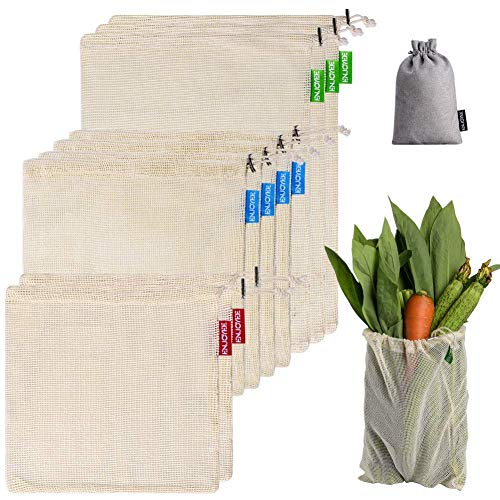 Reusable Mesh Produce Bag with Tare Weight, Cotton Shopping Bags for Vegetable and Grocery, Set of 9 Bonus 1 Cotton Packing Bag, Eco Friendly, Washable, by Enjoyee (9 pcs)