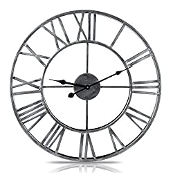 Fcoson Vintage Metal Clock Hollowed-out Roman Numeral Silent Clock 20-inch Large Round Decorative Clock for Living Room Bedroom Kitchen Silver