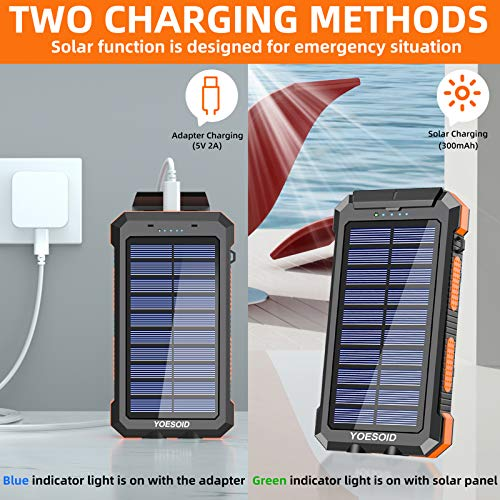 Solar Charger 30000mAh YOESOID Portable Solar Power Bank Outdoor Waterproof Camping External Backup Battery Pack with Dual USB Ports 2 LED Light Carabiner and Compass, Compatible Most Smart Phones