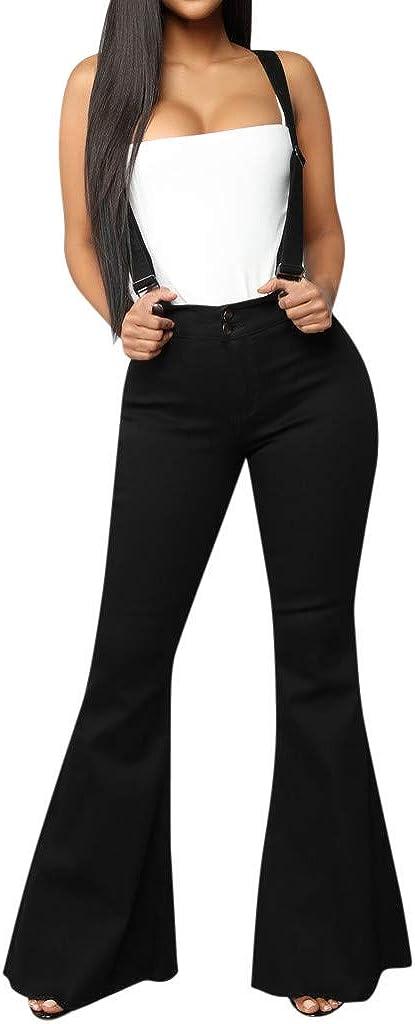 Womens Sleeveless High Waisted Zipper Front Bell Pants Suspender Jumpsuits Overalls