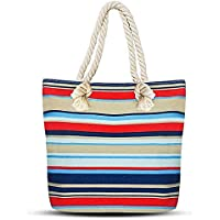 Beach Tote Bag, Hand Bag, ANGUO Large Size Canvas Shopping Bag Large Size with Cotton Rope Handle(Blue gray red stripes)