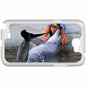 Custom Fashion Design Samsung Galaxy NOTE 2 SII Back Cover Case Personalized Customized Samsung Note 2 Diy Gifts In Dolphin White
