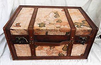 Caja de Almacenamiento con diseño Vintage de Mapa del Mundo y Pecho, baúl o baúl: Amazon.es: Electrónica