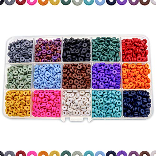 Over 4,000 Ceramic Terra Cotta Spacer Beads for Jewelry Making with Free 3 Free Stretch Bracelets for Inspiration - Handmade Colorful Premium Quality Craft Bead Kit - Unique Craft Supplies