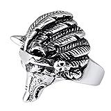 Men's Stainless Steel Rings Silver Black Wolf Head Gothic Biker (12)