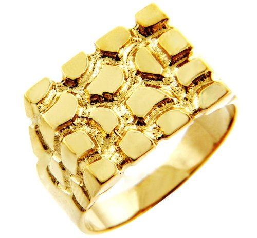 Men's Gold Nugget Rings - The Armour Solid Gold Nugget Ring(10K) (8)