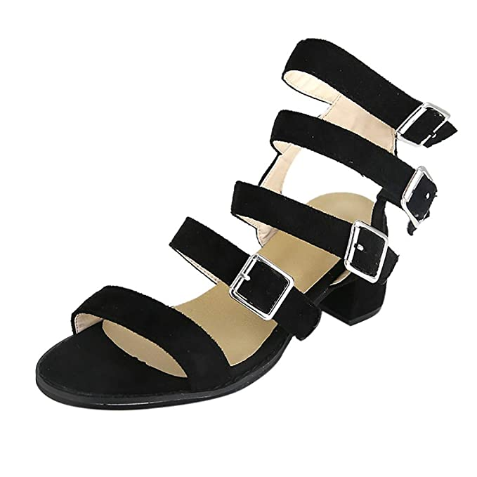 46f96ac117f Women s Chunky Heels Sandal Summer Gladiator Open Toe Casual Four  Adjustable Buckle Strap Shoes (Black