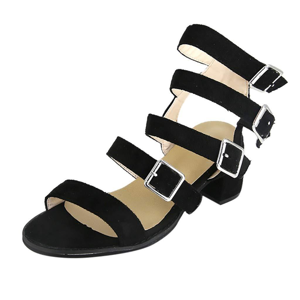 Newlyblouw 2019 New Women Low Block Buckle Strap Summer Sandals Open Toe Shoes Square Heel Sandals Fashion Shoes Black