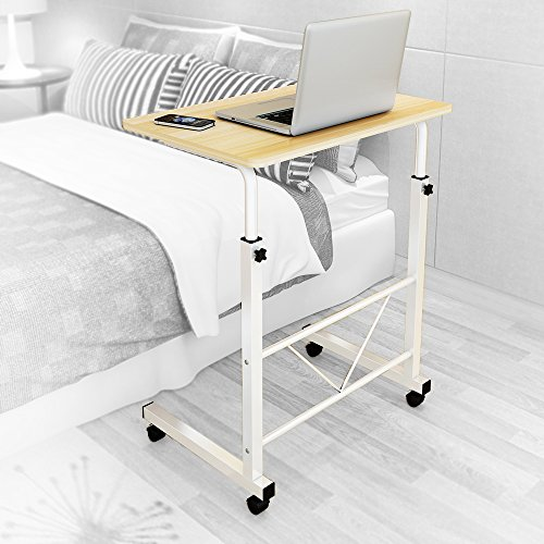 """Dland Laptop Stand Adjustable 23.6"""" Small Size Computer Standing Desk Portable Cart Tray Side Table with Wheels for Bed Sofa Hospital Reading Eating, Teak"""