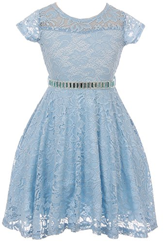 Big Girl Cap Sleeve Lace Skater Stone Belt Flower Girls Dresses (19JK88S) Blue 14