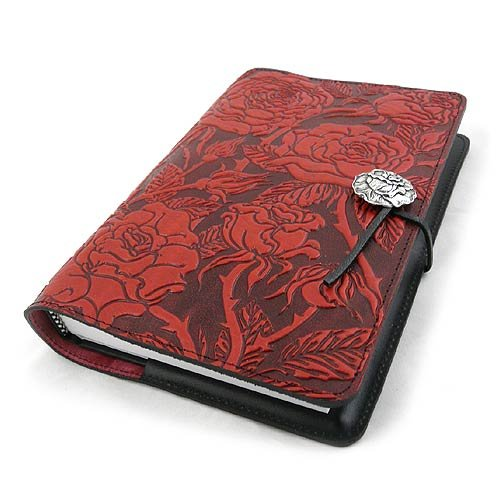 Wild Red Rose Embossed Leather Writing Journal, American Made, 6 x 9-inch + Refillable Hardbound Insert Book by Modern Artisans (Image #6)