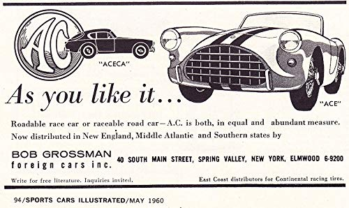 - 1960 AC ACE 2-Seater & ACECA COUPE SPORTS CARS * As you like it.* SMALL VINTAGE NON-COLOR AD - USA - GREAT ORIGINAL !! (SCI560)