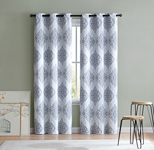 HowPlumb 2 Blackout Room Darkening Window Curtains Medallion Grommet Panel Pair Drapes, 84