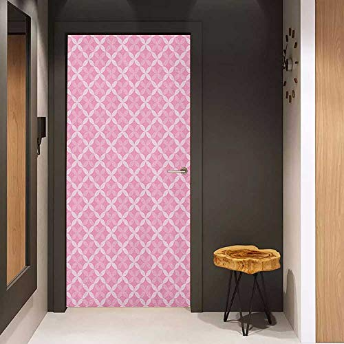 - Onefzc Soliciting Sticker for Door Geometric Valentines Day Themed Romantic Abstract Floral Pattern with Retro Style Petals Mural Wallpaper W35.4 x H78.7 Pale Pink