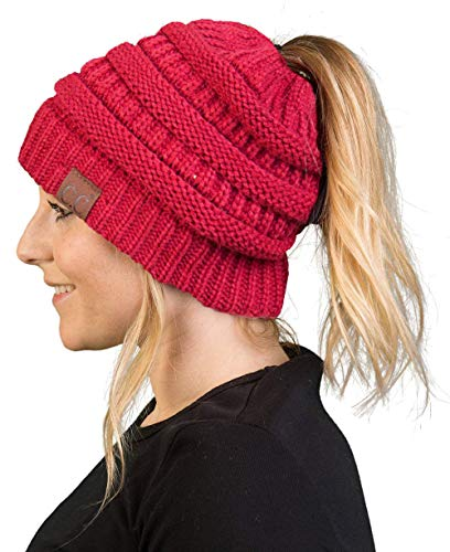 (BT-6020a-4242 Messy Bun Womens Winter Knit Hat Beanie Tail - Cardinal)