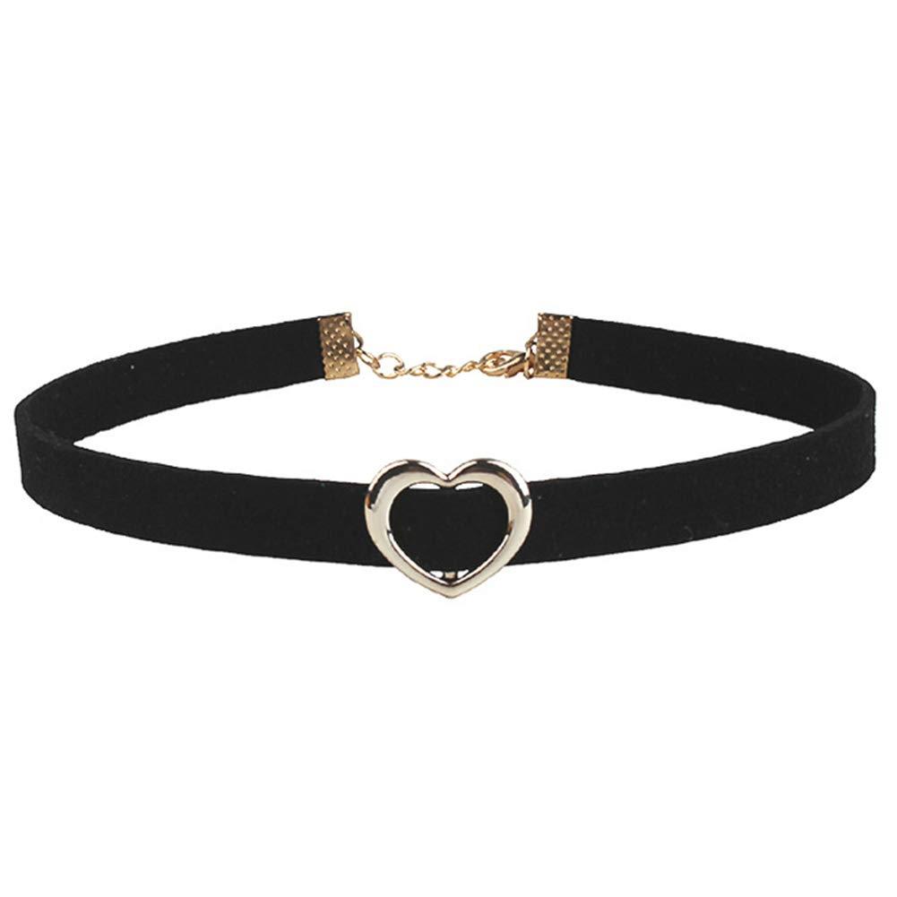 WillowswayW Gothic Retro Heart Ring Decor Collar Necklace Women's Velvet Choker Jewelry