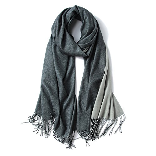 MaaMgic Womens Soft Cashmere Feel Pashmina Shawls Wraps Big Blanket Fall Winter Scarf for Girls, Dark Gray and Grey