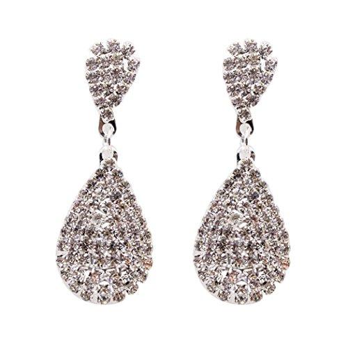 DENER Women Girls Ladies Crystal Rhinestone Water Drop Ear Clips Stud Hoop Dangle Drop Earrings Eardrop (Silver) -