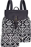 Lily Queen Women Backpacks Canvas Lightweight School Bags Casual for Teen Girls (Black White)