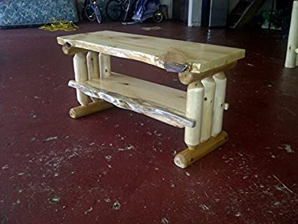Rustic Log Pine And Cedar Tv Stand Entertainment Center (Unfinished)