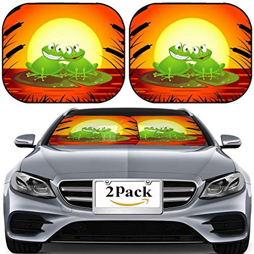 MSD Car Sun Shade for Windshield Universal Fit 2 Pack Sunshade, Block Sun Glare, UV and Heat, Protect Car Interior, Frog Couple Cartoon Image ID - Sunshade Frog