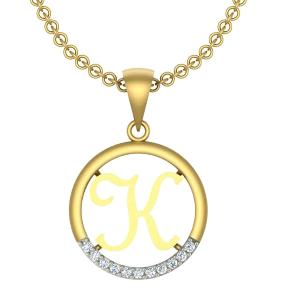 0.05 Ct Round Cut Simulated Diamond letterK In Circle pendant With 18 Chain 14K Yellow Gold Plated